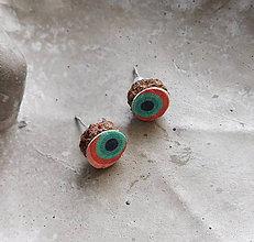 Náušnice - chir.oceľ kožené retro napichovačky (Oranžová) - 10820032_