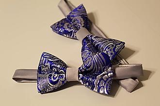 Doplnky - luxusný set motýlikov OTEC A SYN šedo modrý - 10821563_