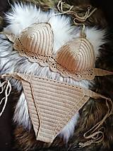 Bielizeň/Plavky - Plavky háčkované béžové - 10820321_