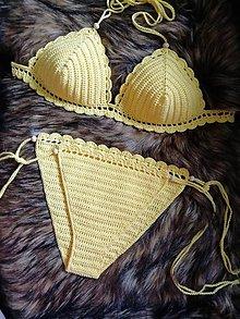 Bielizeň/Plavky - Plavky žlté háčkované - 10820931_