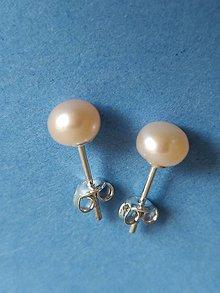 Náušnice - Riečne perly ružové v striebre  Ag 925 - RP3 - 10820832_
