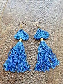 Náušnice - Ľanové náušnice  (Modrá) - 10819349_