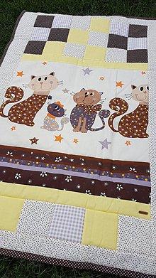 "Textil - ""Mačacia rodinka"" patchworková deka - 10819929_"