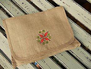 Úžitkový textil - Ľanová taštička s kvietkom - 10820542_