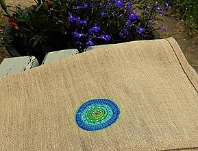 Úžitkový textil - Ľanová taštička s obrázkom - 10820599_