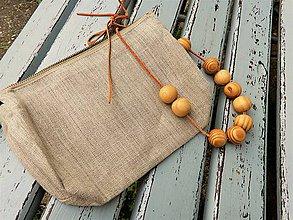 Úžitkový textil - Ľanová taštička malá - 10820624_
