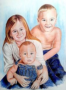 Kresby - súrodenci v denime... ☺ formát A2 - 10819853_