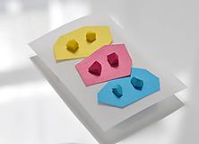 """Náušnice - Set mini náušníc """"cyan-magenta-yellow"""" - 10821926_"""