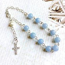 Náramky - Rosary Silver AG925 Angelite Bracelet / Strieborný ruženec na ruku alebo do auta s angelitom - 10822616_