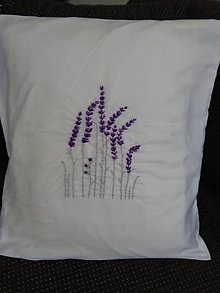 Úžitkový textil - Levanduľová (vyšívaná obliečka) - 10822675_