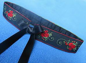 Opasky - dámsky opasok červeno čierny - 10824530_