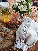 Ľanové vrecko na chlieb, pečivo z ručne tkaného plátna