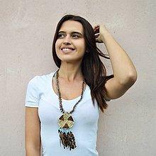 Náhrdelníky - Kožený náhrdelník, šperky v egyptskom štýle - 10822341_