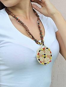 Náhrdelníky - Kožený náhrdelník, šperky v egyptskom štýle - 10825014_