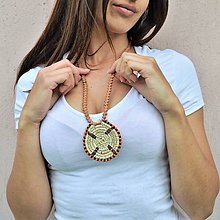 Náhrdelníky - Kožený náhrdelník, šperky v egyptskom štýle - 10825017_