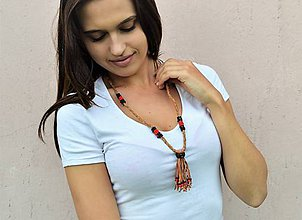 Náhrdelníky - Kožený náhrdelník, šperky v egyptskom štýle - 10825026_