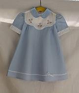 Detské šatôčky. Modré plátené s bielym golierikom