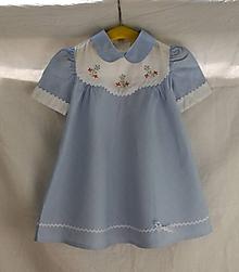 Detské oblečenie - Detské šatôčky. Modré plátené s bielym golierikom - 10822818_
