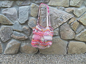 Nákupné tašky - Krásna melírovaná háčkovaná sieťovka - 10822570_