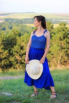 Topy - Modrý háčkovaný crop top - egyptská bavlna - 10822603_