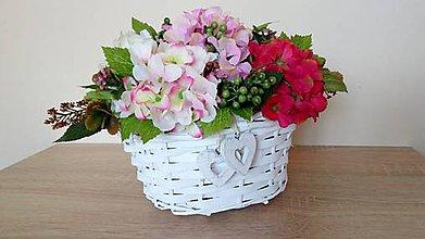 Dekorácie - Kosicek s hortenziami - 10822343_