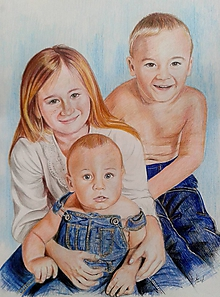 Kresby - súrodenci v denime... ☺ formát A2 - 10823510_
