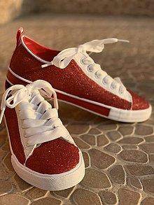 Obuv - Glitrové trblietavé červené tenisky - 10824967_