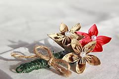 Pierka - Svadobné pierko z papierových origami kvietkov (rôzne farby) - 10824268_