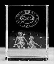 Dekorácie - 3D Kryštálový kvader - Blíženci - 10824444_