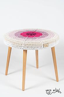 Nábytok - Taburetka Ø 50, pink - 10823302_