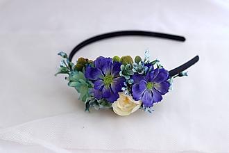 Ozdoby do vlasov - Čelenka modro-tyrkysová - 10822375_
