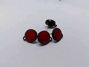 Komponenty - Náušnicové puzety - Mix (Červené kolieska 12 mm) - 10823159_