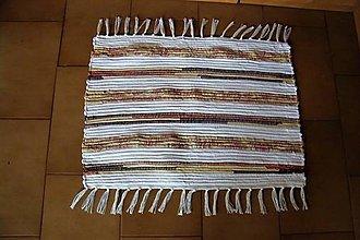Úžitkový textil - Tkaný koberček bielo-hnedý 1 - 10823007_