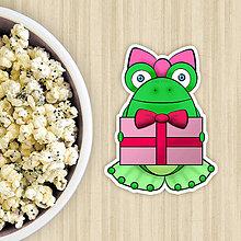 Dekorácie - Žabie grafiky na potlač koláča (žabka s darčekom) - 10822668_