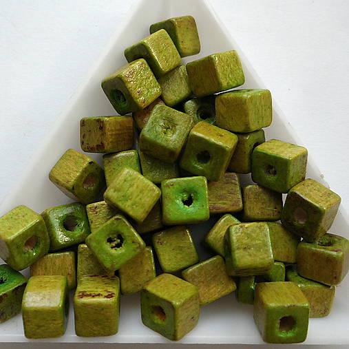 Drevené kocky 6mm-10g (sv.zelená)