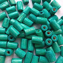 Korálky - Drevený valček 8x4mm-10g (tyrkys) - 10825750_