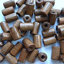 Korálky - Drevený valček 10x6mm-10g (sv.hnedá) - 10825756_