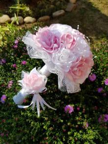 Kytice pre nevestu - Svadobná kytica ruže (ružová) - 10826574_