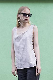 Tielka - Ľanové tričko s gombíkmi - 10826105_