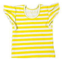 Detské oblečenie - detské tričko s volánikom lemon stripes - 10826396_