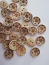 Galantéria - gombík drevený kvietok 15mm - 10826081_