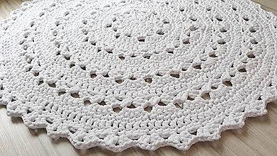 Úžitkový textil - Veľký okrúhly koberec  (Biela) - 10826343_