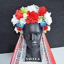 Ozdoby do vlasov - Kvetinová parta - folklórna - červená - modrá - biela - 10826817_