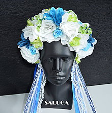 Ozdoby do vlasov - Kvetinová parta - foklórna - modrá - 10826824_