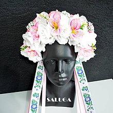 Ozdoby do vlasov - Kvetinová parta - ružová - folklórna - 10826834_