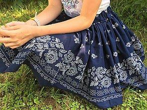 Detské oblečenie - Detská folk sukňa super točivá (Tmavomodrá) - 10826169_