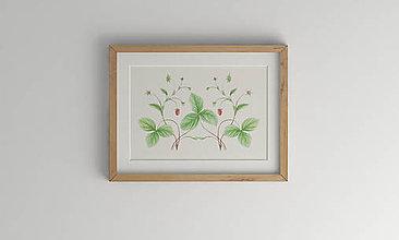 Kresby - Akvarelový art print| botanická ilustrácia Jahoda lesná - 10825700_