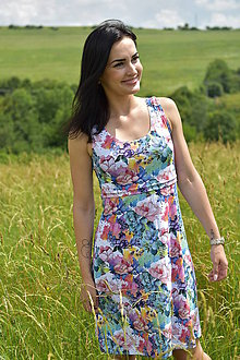 Tehotenské/Na dojčenie - Úpletové tielkové šaty na dojčenie - farebná záhrada - 10827094_
