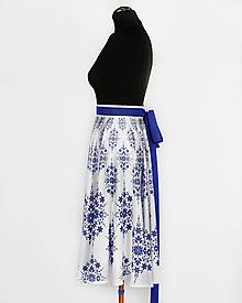 Sukne - MILOTA - potlač DAMAŠKOVÝ FOLK (modrá na bielej) - 10825913_