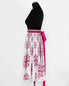 Sukne - MILOTA - potlač DAMAŠKOVÝ FOLK (ružová na bielej) - 10825942_